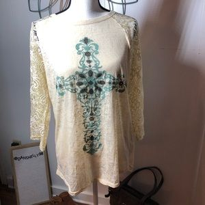 4 for $25  Southern Grace Shirt with Lace Sleeves